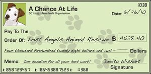 Check to Lost Angels Animal Rescue